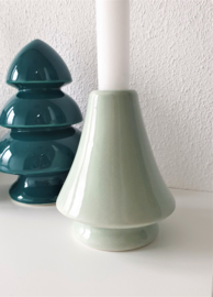 Candle Holder Christmas Tree Green Mint