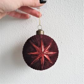 Kerstbal Ø8x8 cm ARLON glas velvet bordeaux