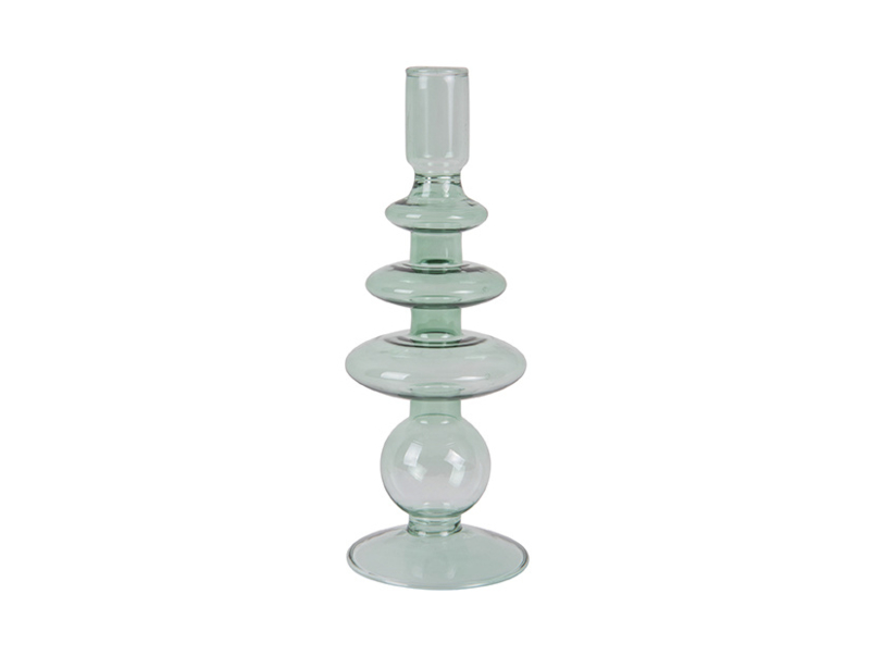 Candle Holder Glass Art Rings Large | GREEN