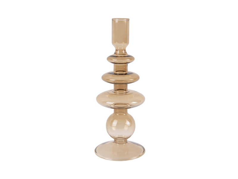 Candle Holder Glass Art Rings Large | SAND BROWN