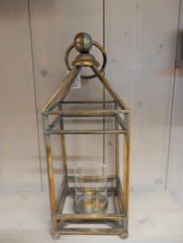 Lantaarn metaal 16x45cm Worn gold