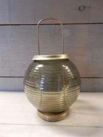 Lantaarn koper glas groen H12cm
