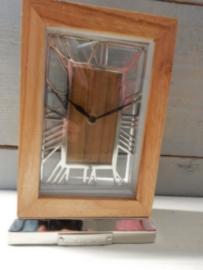Staande klok H 21x 14cm hout metaal Colmore