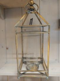 Lantaarn metaal 23x60cm Worn gold