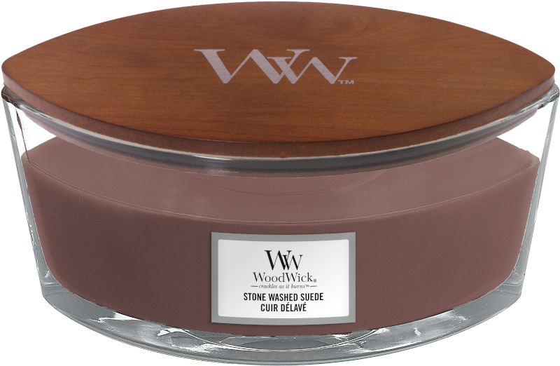 Woodwick Stone Washed Suede Ellipse Candle