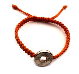 Geluksarmband effen oranje