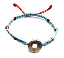 Geluksarmband tweekleurig bleu met rood