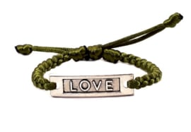 Gevlochten armband rond olijfgroen