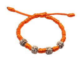 Franciscaans geknoopte armband oranje zilver