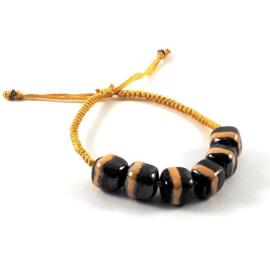 Slangenknoop okergeel zwart gestreept