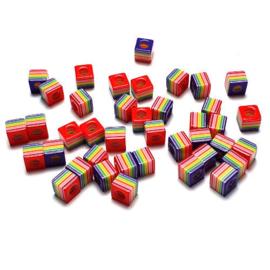 Kubuskralen kunststof donkerpaars multicolor