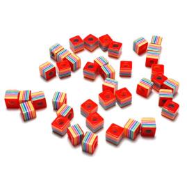Kubuskralen kunststof rood multicolor