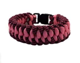 Platte slangenknooparmband roze ton sur ton