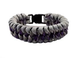 Platte slangenknooparmband grijs paars