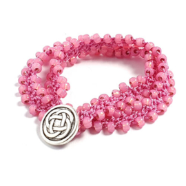 Dubbele wraparmband roze effenkleurig