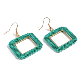 Roc11 oorbellen geometrie goud-dark auqua green