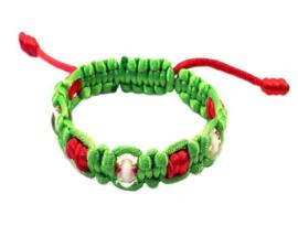 Combi geknoopte armband roze groen