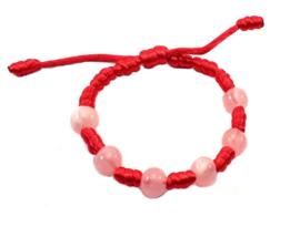 Franciscaans geknoopte armband roze ton sur ton