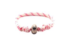 Touwarmband roze wit candy stripe