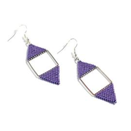 Delica11 oorbellen geometrie-zilver lupine paars