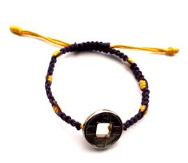 Geluksarmband tweekleurig paars met geel