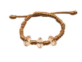 Franciscaans geknoopte armband goudbruin