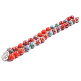 Driekleurige armband rood, bleu & oranje