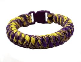 Slangenknooparmband geel paars
