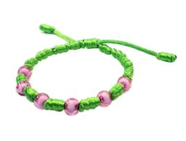 Franciscaans geknoopte armband groen roze