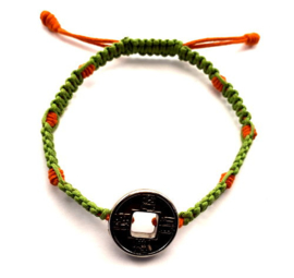 Geluksarmband tweekleurig groen met oranje