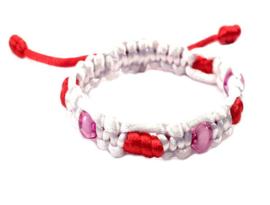 Combi geknoopte armband roze wit