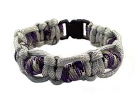 Macraméarmband grijs paars