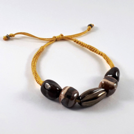 Slangenknoop okergeel bruin gestreept