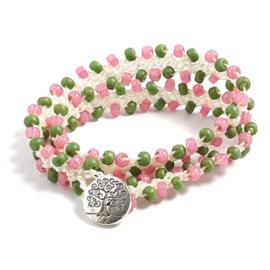 Dubbele wraparmband tweekleurig roze en groen