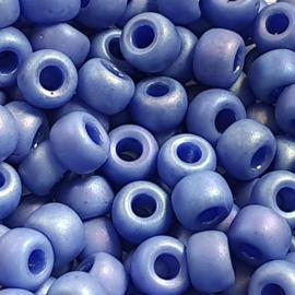 Miyuki rocailles maat 6 Glazed frosted rainbow soft blue