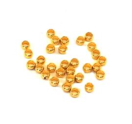 Knijpkralen goud 2 mm