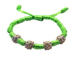 Franciscaans geknoopte armband groen zilver