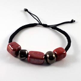Scoubidou zwart rood goud