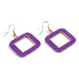 Roc11 oorbellen geometrie goud-purple orchid