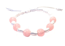 Franciscaans geknoopte armband wit roze