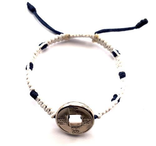 Geluksarmband tweekleurig wit met blauw