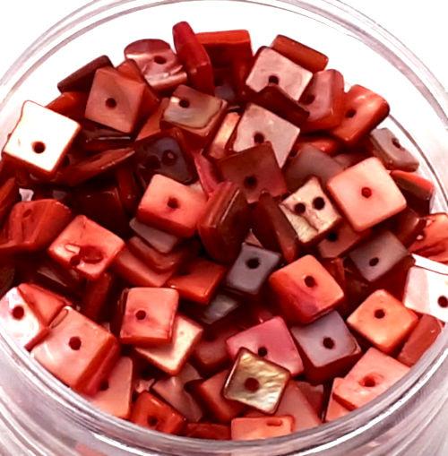 Puka schelpen rood roze