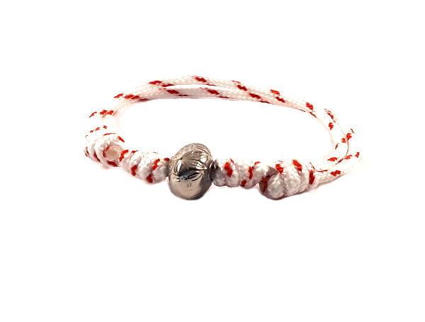 Touwarmband rood wit candy stripe