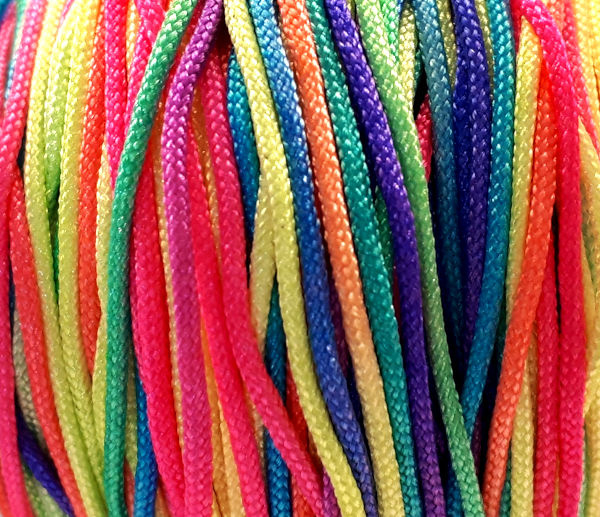 Macramé satijnkoord   neon multi-gekleurd