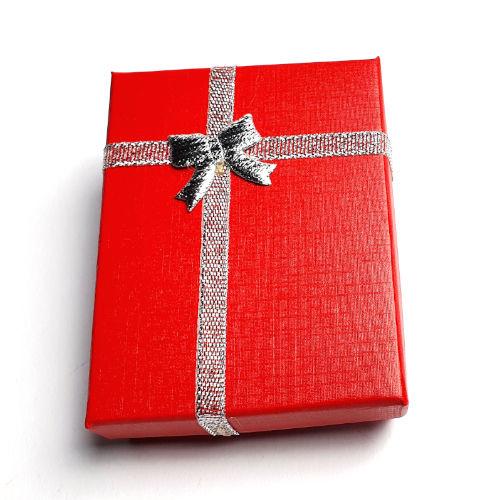 Kartonnen cadeaudoosjes  zilver/rood