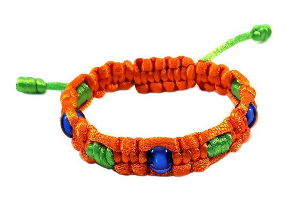 Combi geknoopte armband oranje groen
