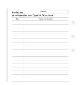 Personal Birthdays/Anniversary/Special Occasions Inserts