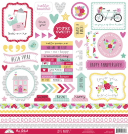 Doodlebug Love Notes 12x12 stickervel