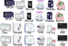 Study/work stickerset - met tekst