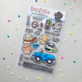 Time For Tea - Car Critters clear stamps